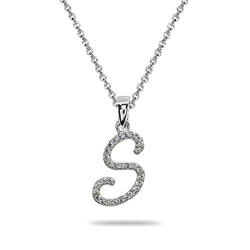 Sterling Silver Cubic Zirconia S Letter Initial Alphabet Name Personalized Pendant ()