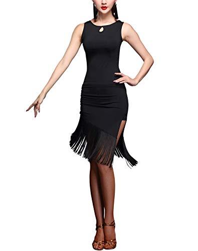 Two Piece Fringe Dance Costumes - Two-piece Dress-type Fringe Side Slit Latin