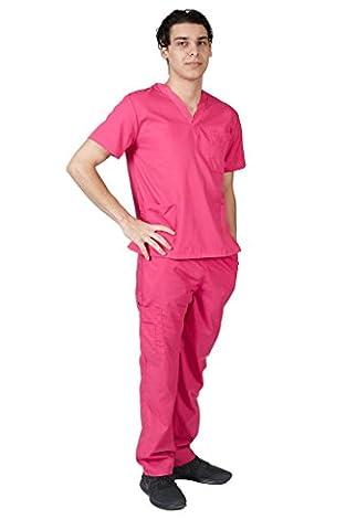 M&M SCRUBS Men Scrub Set Medical Scrub Top and Pants L Hot Pink - Hot Pink Scrub Pants