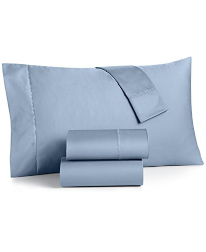 Charter Club Damask Solid Queen 4 Pieces Sheet Set, 550 Thread Count 100% Supima Cotton Horizon (Sky Blue)