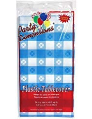 Plastic Party Tablecloths - Disposable, Rectangular Tablecovers - 8 Pack - Blue Gingham - By Party Dimensions]()