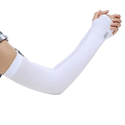 Mchoice® Unisex Ice Silk Arm Cuff Sleeves Sunscreen Anti-Mosquitos Ultraviolet-Proof (White)
