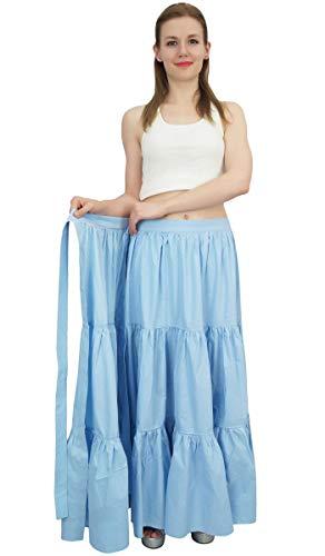 Bleu Hirarchis Bimba Pastel Coton Vtements Solide Loisirs Crinkle De Wrap Jupe Dames Ra7vHw