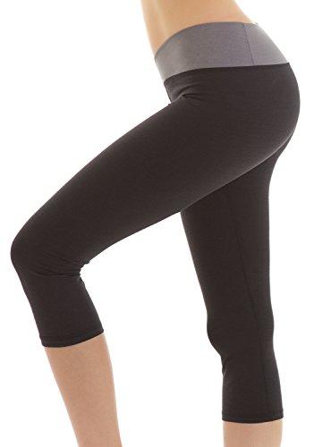 Yogareflex Women's Active Running Capris Workout Yoga Capri Leggings (XS-2XL) , Black , Small