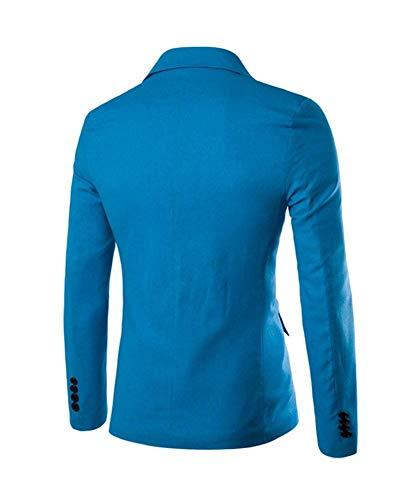 Classica Uomo Leisure Button Slim Giacca Corta Sportiva Casual Lanceyy Semplice Stile One Blau Da Fit 5BURtx