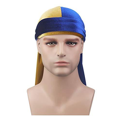 (Men Velvet Durags Bandana Turban Hat Wigs Du-Rag Biker Headband Pirate Hat Hair Accessories Gold Blue Size fits all)