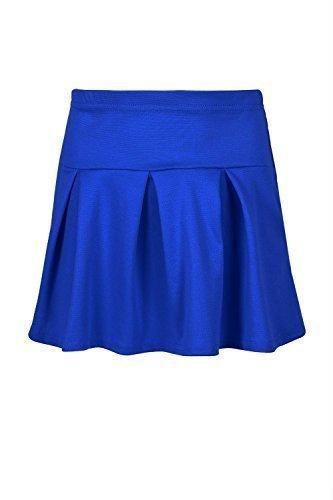 Be Jealous enfants filles haut taille élastique plissé Ponte UNIFORME court SWING Franki évasé Uni mini jupe - Bleu Roi, Age 9/10 years