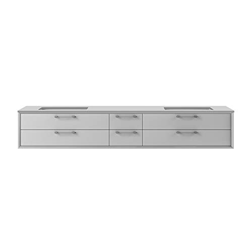 Solid Surface countertop with two cut-outs for under mount sink-5452UN for wall-mount under-counter vanity GEM-UN-72, sold together with the cabinet, Satin White (Solid Surface)