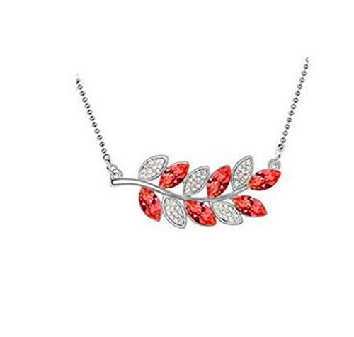 Fashion Womens Leaves Red Crystal Rhinestone Silver Chain Pendant Necklace New ()