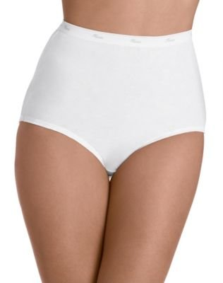 Hanes Women's 3-Pack Cotton Brief Panty, White, 10