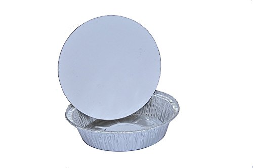 TakeOut To-Go Round Restaurant Disposable Aluminum Foil Pan sets with Flat Board Lids, 25 Count, 7 1/8x 7 1/8 x 1 1/2 deep