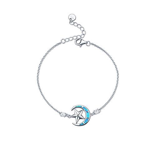 WINNICACA Moon and Star Bracelets Sterling Silver Blue Opal Adjustable Bracelets for Women Girls Gifts Jewelry