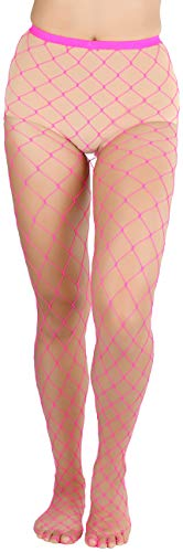 Hot Pink Fishnet Stockings (ToBeInStyle Women's Diamond Net Once Size Full Footed Pantyhose - Hot)