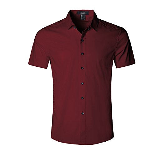 Gilbeti Mens Slim Fit Solid Dress Shirts Button Down Cotton Short Sleeve Shirt Redlarge