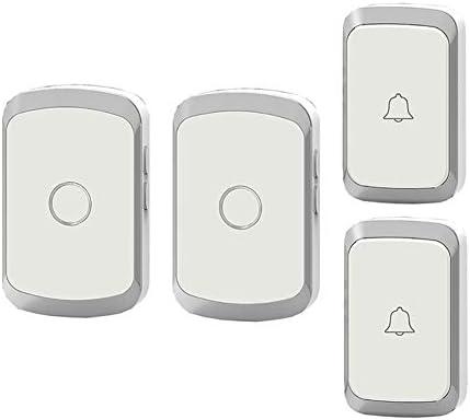 コードレスプラグインドアベル、家庭用防水リモートドアベル36メロディーと4レベルボリューム1000Ft範囲(2プッシュボタンと2レシーバー),2
