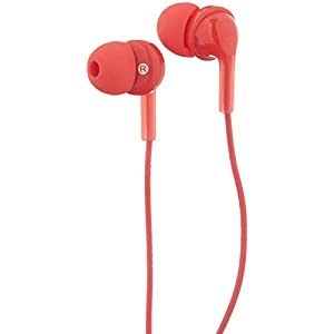 AmazonBasics in-Ear Headphones with Mic - Red