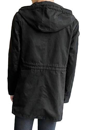 Length Mid Coat TTYLLMAO Drawstring Hoodies Long Windproof Men's Trench Outdoor Black wzfXq0p