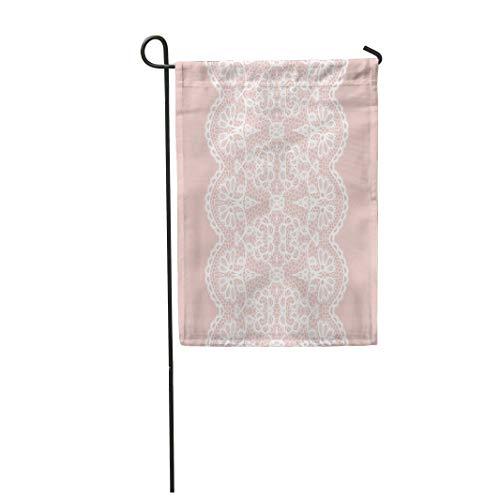 Semtomn Garden Flag Pink Lace White Lacy Vintage Elegant Trim Border Edging 12
