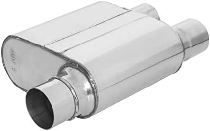 TOTALFLOW Polished 2.5 Offset in 2.5 Offset 542581 409 Stainless Steel Single Chamber Universal Muffler 2.5 Dual Offset Out Transverse