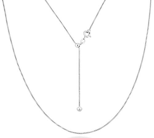 MiaBella 925 Sterling Silver Italian 1mm Diamond Cut Thin Adjustable Round Box Bolo Chain Necklace Jewelry for Women Choice of White or 18K Yellow Gold Over Silver 24 inch (Sterling-Silver)