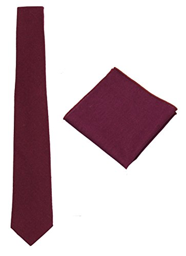 Mens Solid Skinny Linen Tie with Pocket Square Gift Set Various Colors (Maroon) ()