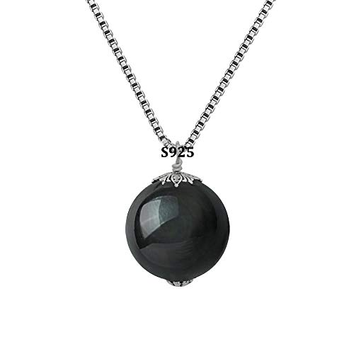 (OK-STORE Natural Black Obsidian Rainbow Eyes Stone Necklace Pendant, 16mm Obsidian Bead with Woven Cotton Cord, Talisman Dedication of Wellness and Wealth (A-S925 20mm))