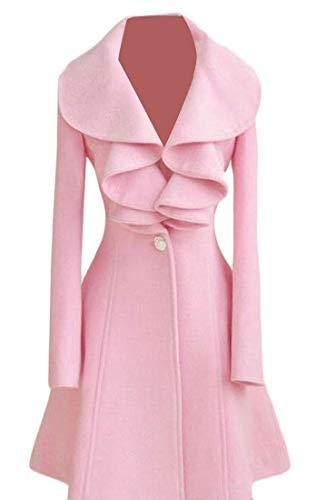 Joe Wenko Womens Outwear Ruffled One Button Swing Autumn Winter Lapel Pea Coat Pink M -