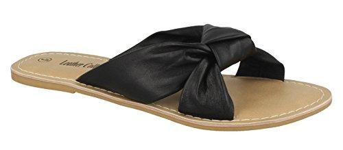 Kokoelman Sandaalit Naisten Musta Nahka Tasainen Muulin Solmu 4f4dFq