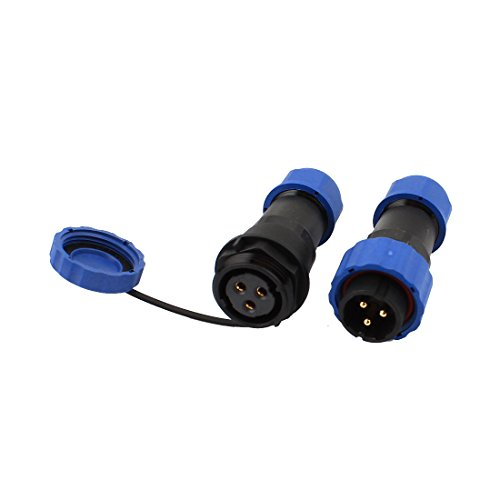 uxcell Pair Waterproof Aviation Cable Connector + Socket SD20-3 3 Terminals IP68
