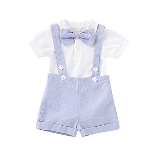 Gentleman Outfits Set for Baby Boys Short Sleeve Romper with Tie and Overalls Bib Pants Clothing Set (Light Purple, 6-12 Months) -