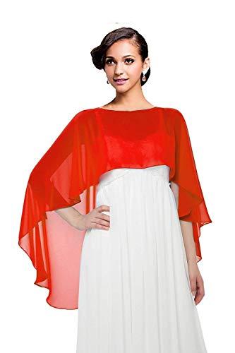 Women Chiffon Cape Bridal Soft Chiffon Scarve Shawls Wraps Beach Cover Up Wedding Bridal Capelet Evening Shawls (Red) ()