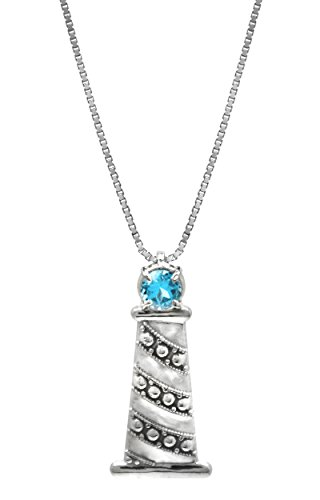 """Honolulu Jewelry Company Sterling Silver and Blue Topaz Lighthouse Necklace Pendant with 18"""" Box Chain"""