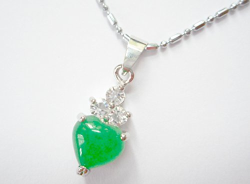Small heart green jade pendant necklace with 3 created diamonds Anniversary Green Pendant