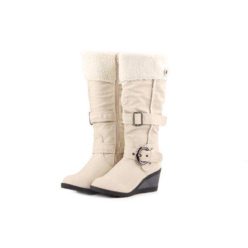 Reneeze K-ADDIE-1 Kids Wedge Mid-Calf Winter Boots- White, Size 12