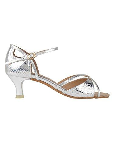 Rumpf 2274 Zapato Baile Mujer Latino Salsa Tango Latino Sintético Suela de cromo color plateado brillante tacón 5 cm Plateado