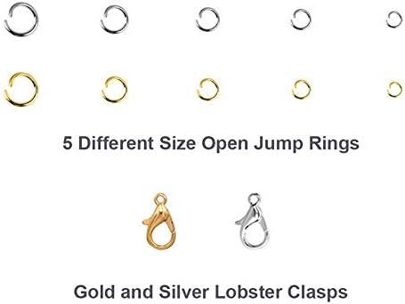 Cuasting 1314 Pcs Ouvrir Anneaux de Sauter et Pinces de Homard Bijoux Outils de R/éParation Kit Fabrication de Fournitures pour la R/éParation du Collier avec la Fabrication de Accessoires