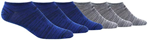 - adidas Men's Superlite No Show Socks (6 Pack),  Royal - Navy Space Dye/ Black Onix - Clear Onix Space D