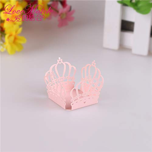 SHHOMELL 50Pcs Crown Design Chocolate Wrappers Laser Cut Candy Bar Baby Shower Decoration Chocolate Box Kids Party Favors Supplies Pink (Cat In The Hat Candy Bar Wrapper)