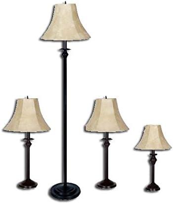 Dark Brown Bronze Metal Base Light, Floor Table Accent NEW 4-Piece Lamp Set