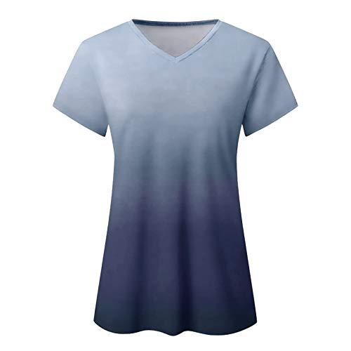 CloudLg Womens V Neck T-Shirts Short Sleeve Loose Tee Tops Fashion Gradient Tunics Casual Plus Size Basic Blouse