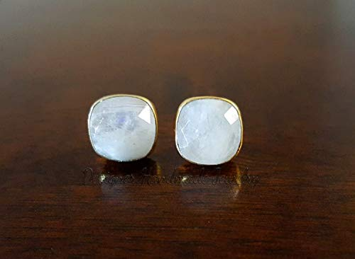 MOONSTONE STUD EARRINGS - MOONSTONE JEWELRY - GOLD STUD EARRINGS - RAINBOW MOONSTONE EARRINGS - GOLD POST EARRINGS