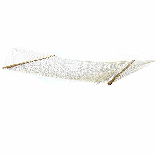 Sunnydaze 2 Person Polyester Rope Hammock with Spreader Bars, Natural, 450 Pound Capacity