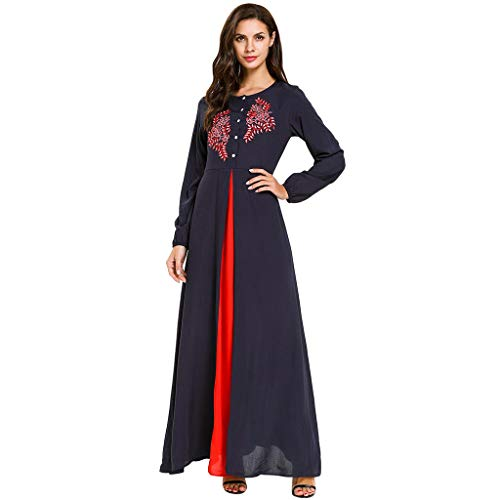 Muslim Dress for Women Robe Open Abaya Long Sleeve Arabic Long Dress Islamic Muslim Middle Eastern Clothing CapsA Navy