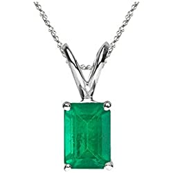0.42-0.69 Cts of 6x4 mm AA Emerald Cut Natural Emerald Solitaire Pendant in Platinum