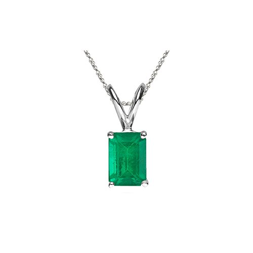 - 1.15 Cts of 8x6 mm AA Emerald Cut Natural Emerald Solitaire Pendant in Platinum
