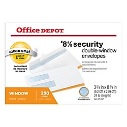 Office Depot Double-Window Envelopes, 8 5/8in. (3 5/8in. x 8 5/8in.), White, Self-Adhesive, Box Of 250, 77159 by Office Depot