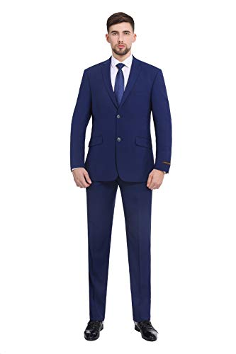 (P&L Men's Premium Slim Fit 2-Piece Suit Blazer Jacket & Flat Pants Set Cobalt Blue)