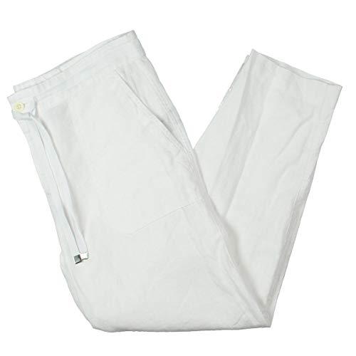 Lauren Ralph Lauren Womens Kasira Linen Cropped Wide Leg Pants White 16