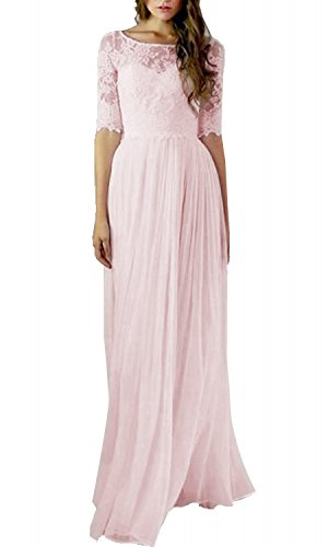 Setwell Women's Long Chiffon Bridesmaid Dress A Line Half Sleeves Prom Party Gown US12 Pink
