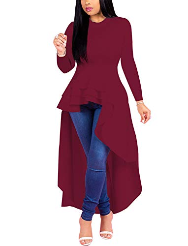 Fashion High Low Tops for Women - Unique Ruffle Long Sleeve Tunic Shirt (X-Large Wine Red)